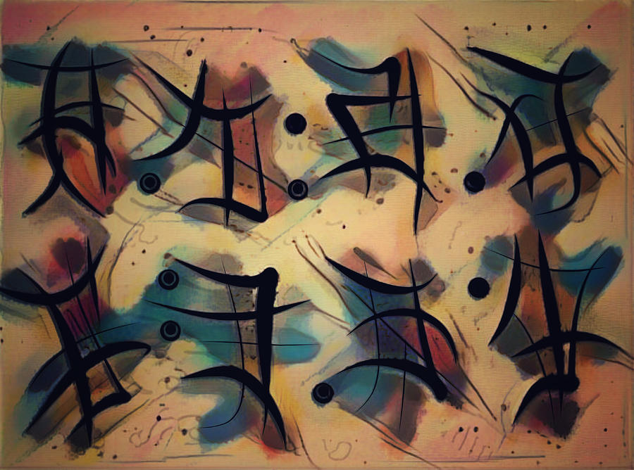 Asemic Writing Mixed Media - This Vision Then by Philip Openshaw
