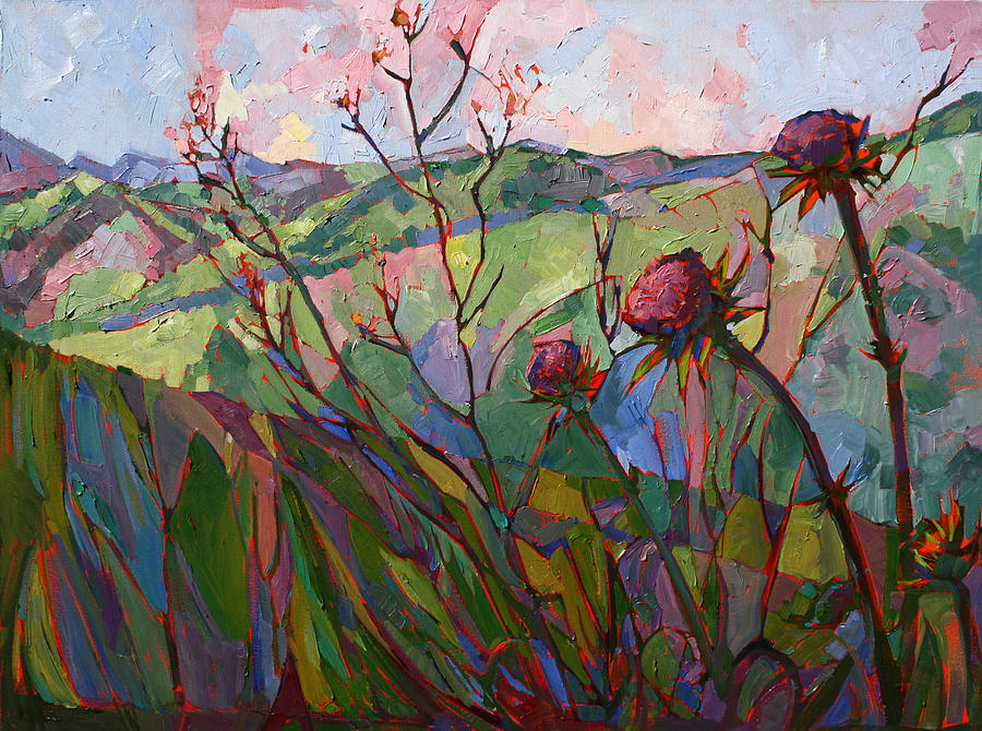 Paso Robles Painting - Thistle Mosaic by Erin Hanson