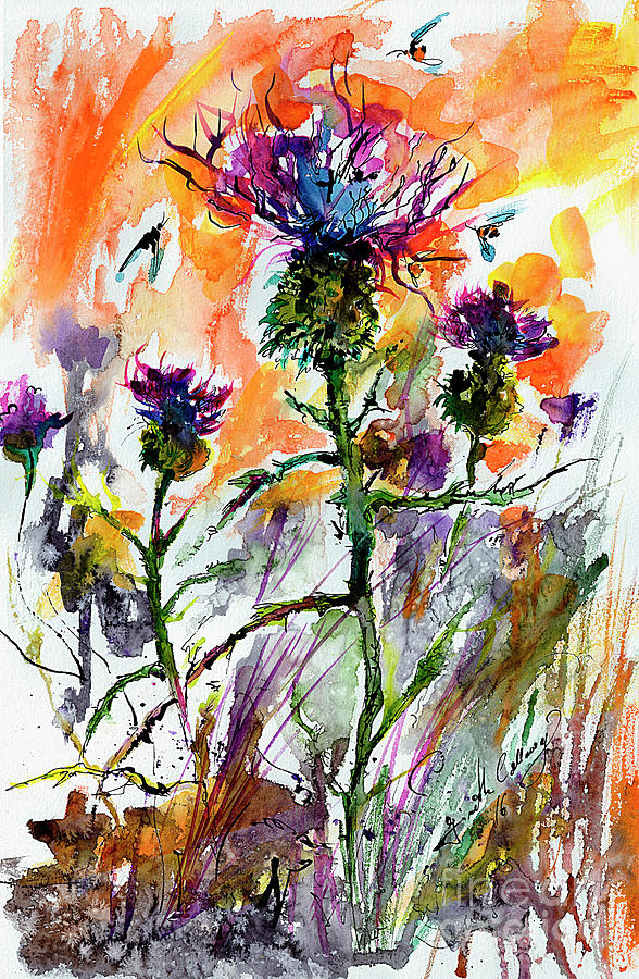 Thistles And Bees Watercolor And Ink Painting by Ginette Callaway