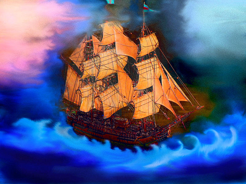 Ship Mixed Media - Tho Storms Assail by Susan  Chasteen