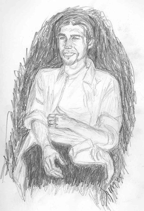 Smoking Drawing - Thomas by Aimee Johnson