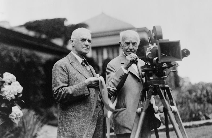 History Photograph - Thomas Edison 1847-1931 And George by Everett