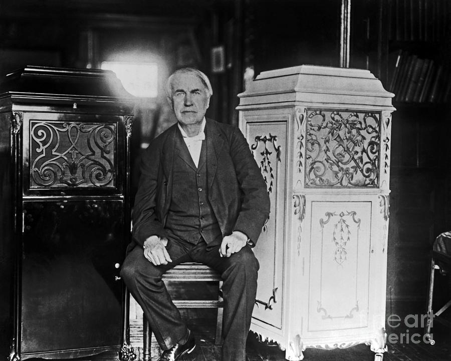 Thomas Edison Photograph - Thomas Edison Phonographs 1912 by Sad Hill - Bizarre Los Angeles Archive