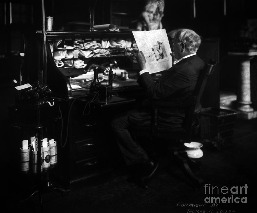 Thomas Edison Photograph - Thomas Edison Reading by Sad Hill - Bizarre Los Angeles Archive