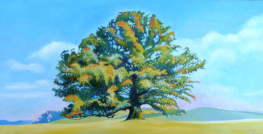 Oak Painting - Thomas Jeffersons White Oak Tree On The Way To James Madisons For Afternoon Tea by Catherine Twomey