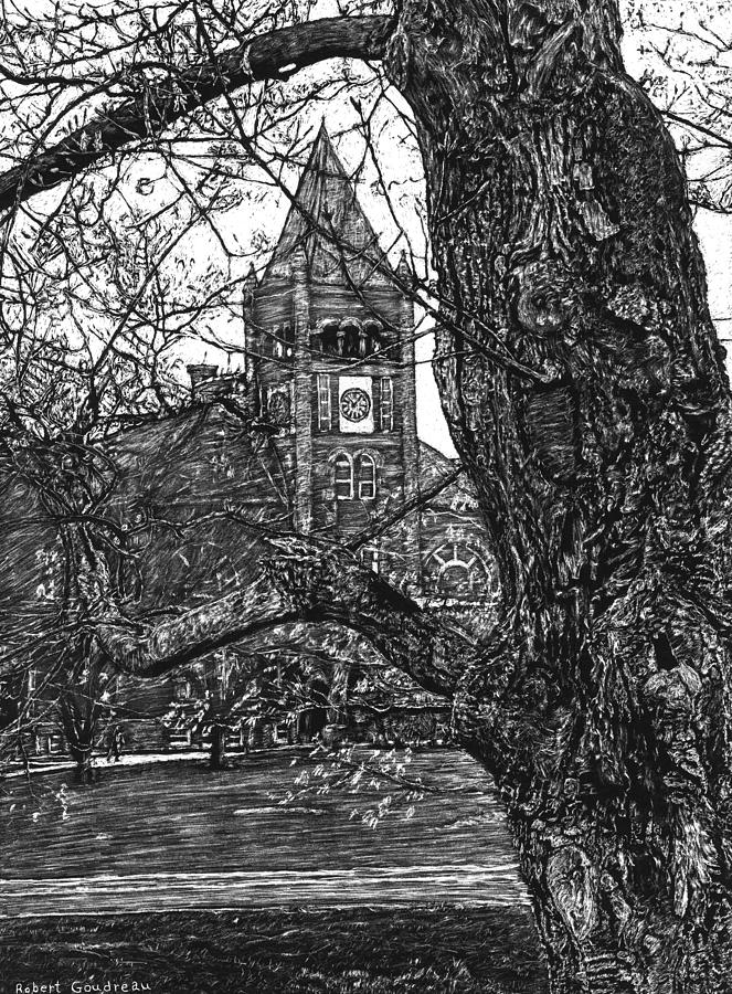 University Of New Hampshire Drawing - Thompson Hall at UNH by Robert Goudreau