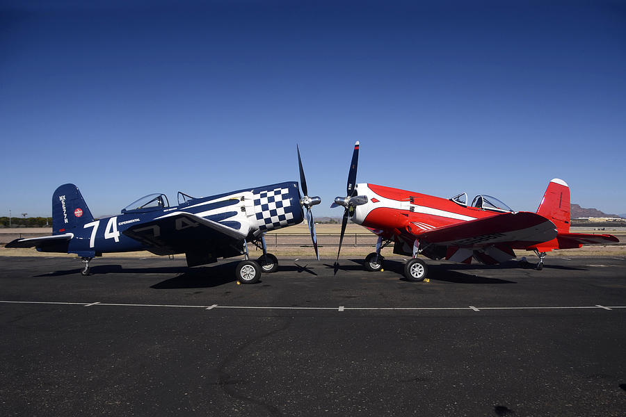 Airplane Photograph - Thompson Trophy Goodyear F2g Corsair Reunion Falcon Field Arizona December 27 2011 by Brian Lockett