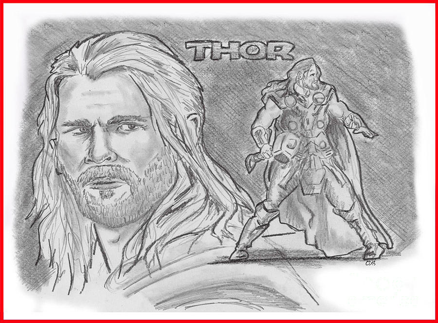 Avengers Drawing - Thor Odinson by Chris  DelVecchio