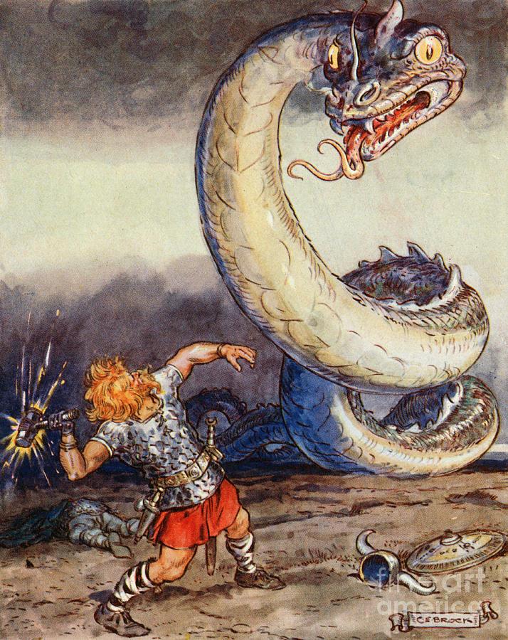 Thor Painting - Thor Went Forth Against Jormungand by Charles Edmund Brock