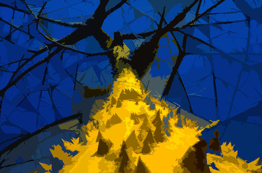 Blue Sky Painting - Thorny Tree Blue Sky by David Lee Thompson