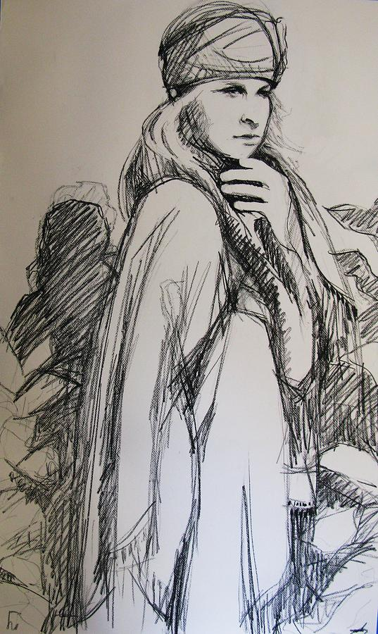 Girl Drawing - Thoughtful Moment by Michelle Winnie