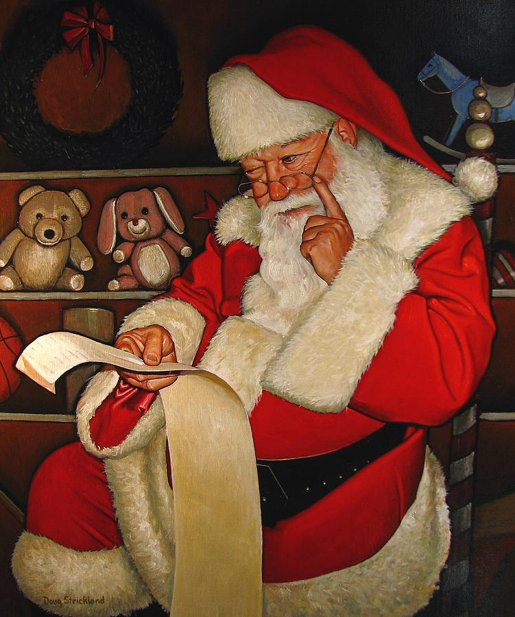 Toy Painting - Thoughtful Santa by Doug Strickland