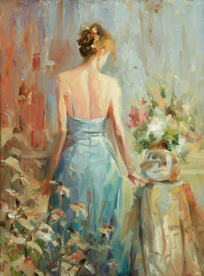 Woman Painting - Thoughtful by Steve Henderson