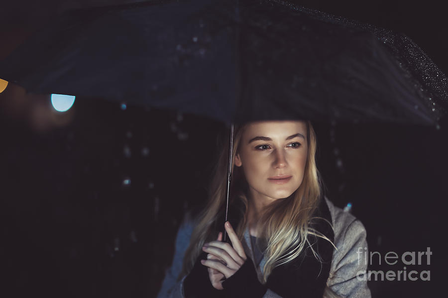Adult Photograph - Thoughtful Woman Outdoors On Rainy Night by Anna Om