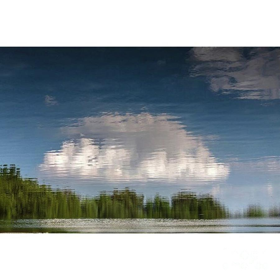 Thought Photograph - Thought Clouds Reflection In A Lake by Larry Braun