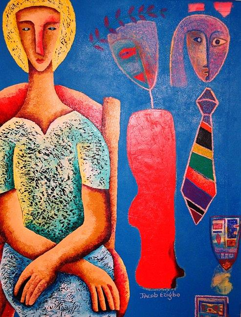 Women Painting - Thoughts Of Me And You  by Jacob  Wachira Ezigbo