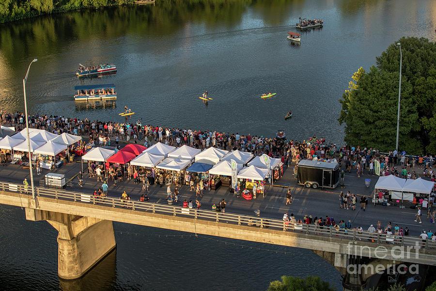 Congress Avenue Bridge Photograph - Thousands of bat watchers gather on the Congress Avenue Bridge d by Austin Bat Tours