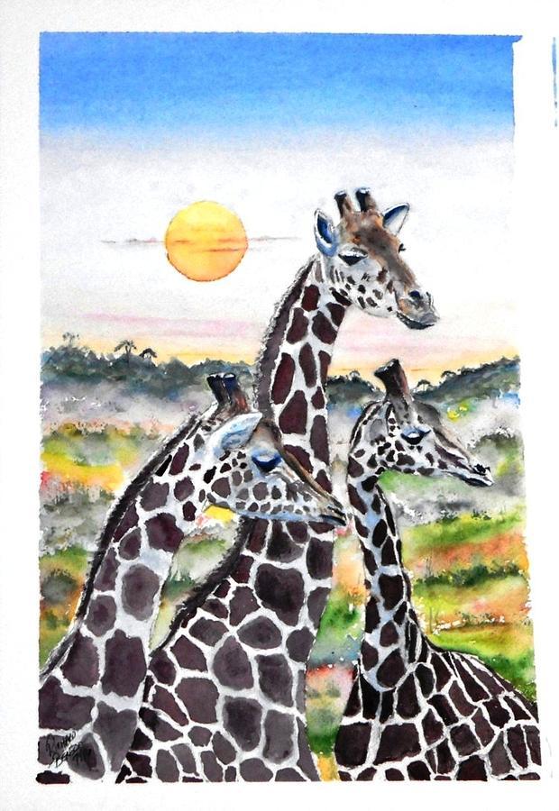Three Giraffes    SOLD by Richard Benson