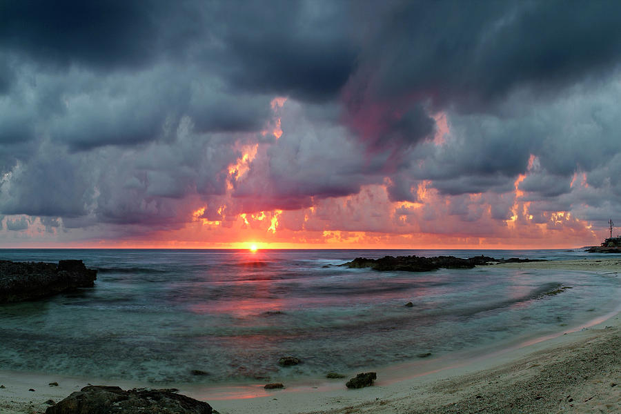 Isla De Mujeres Photograph - Threatening Sky Above The Caribbean Sea Off Isle De Mujeras North Shore by Dean Hueber