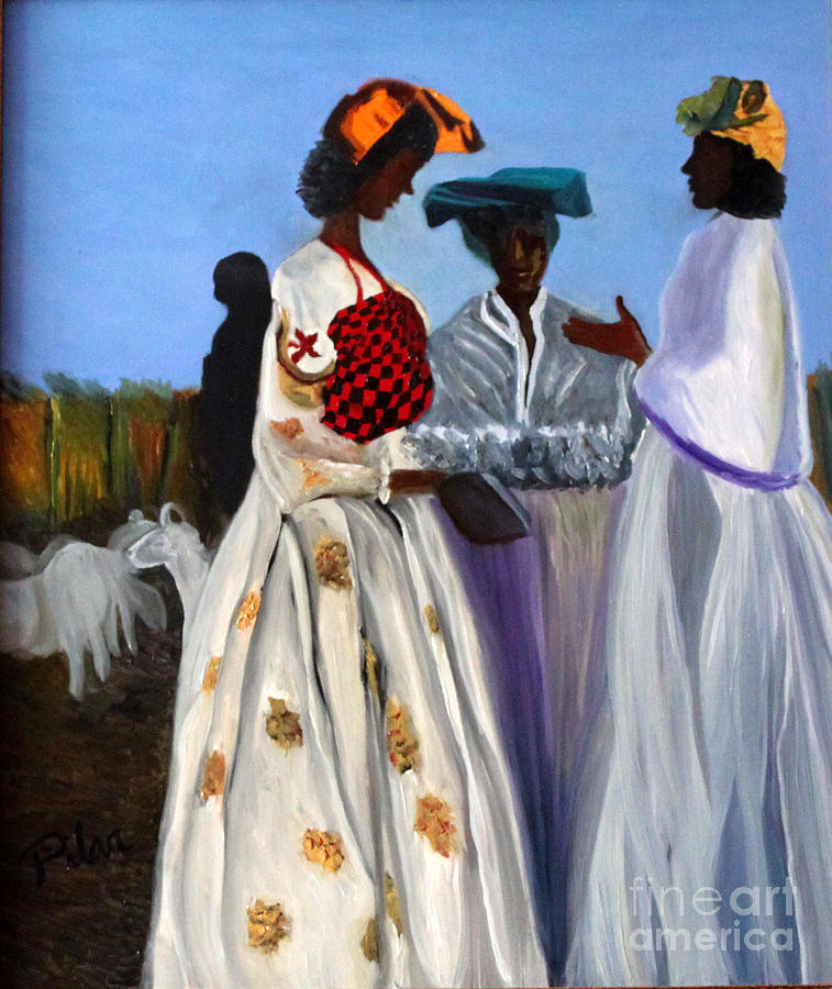 Three African Women Painting by Pilar  Martinez-Byrne