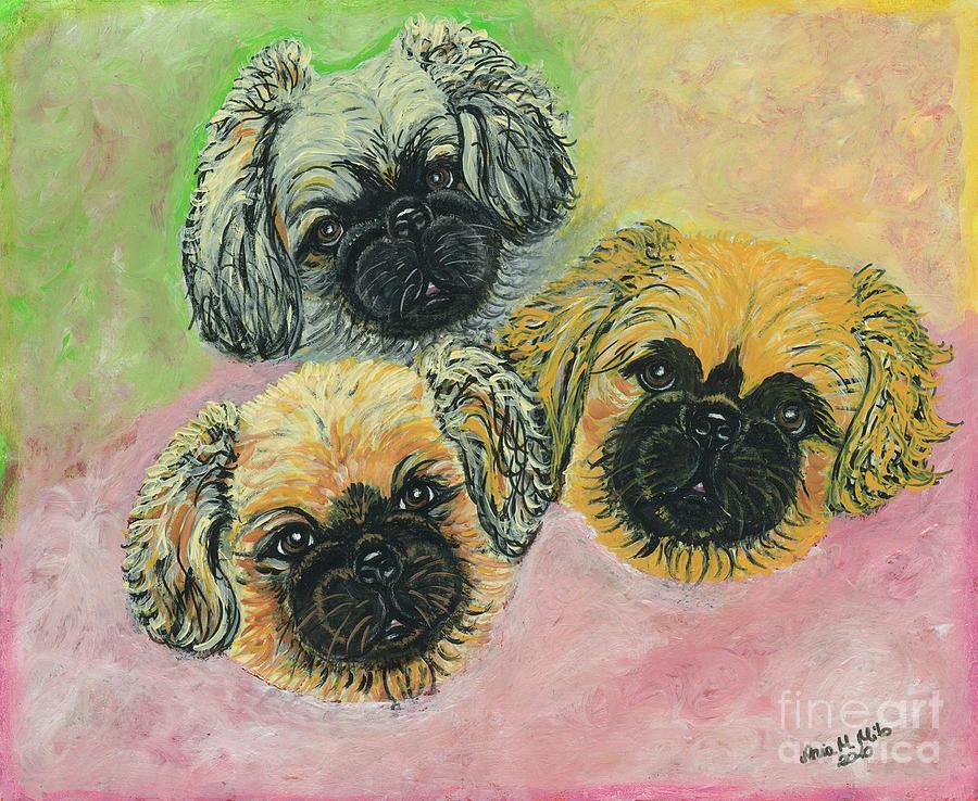 Pekingese Painting - Three Amigos by Ania M Milo