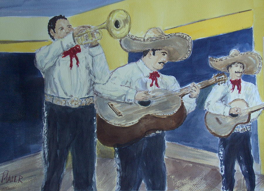 Mariachi Band Painting - Three Amigos by Pete Maier