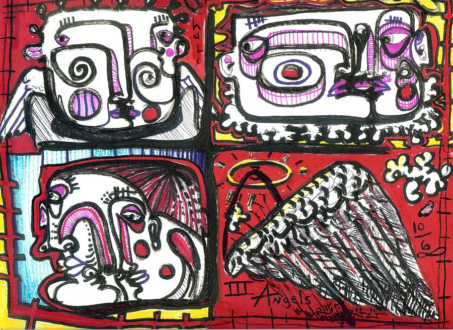 Angels Painting - Three Angels by Robert Wolverton Jr
