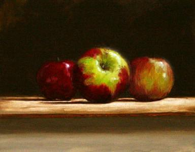 Still Life Painting - Three Apples by Keith Driscoll