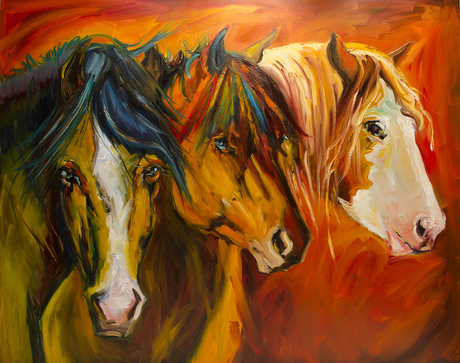 Horse Painting - Three at the Fence Line by Diane Whitehead