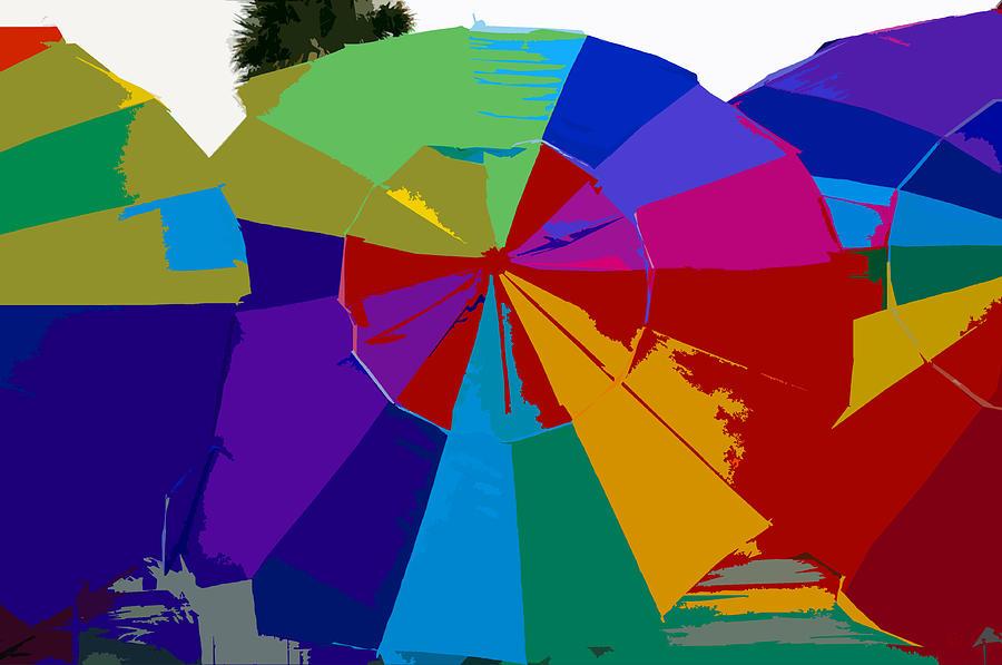 Beach Painting - Three Beach Umbrellas by David Lee Thompson