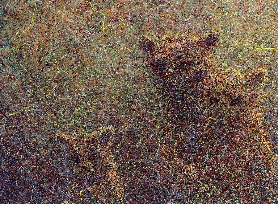 Bears Painting - Three Bears by James W Johnson