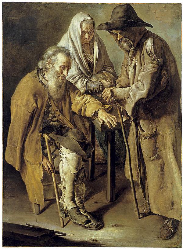 Painting Painting - three Beggars Original Painting by Dusan Rakic