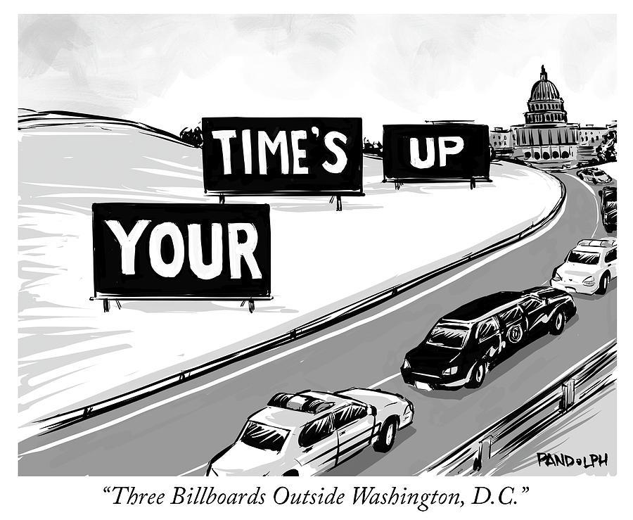 Three Billboards Outside Washington DC Drawing by Corey Pandolph