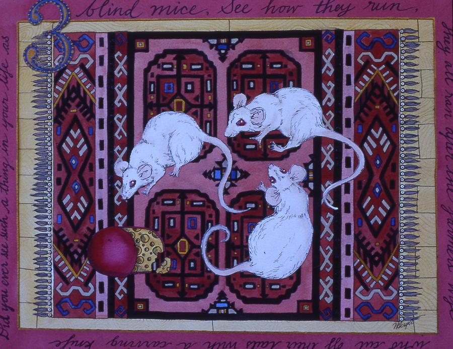 Three Blind Mice Painting - Three Blind Mice by Victoria Heryet