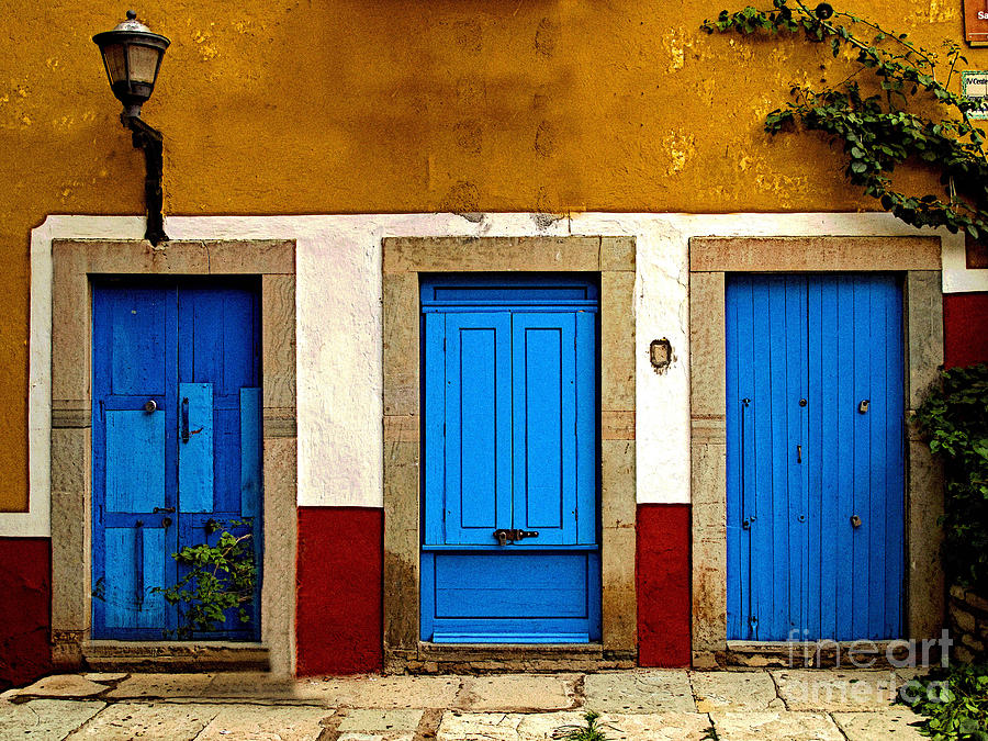 Michael Fitzpatrick Photograph - Three Blue Doors 1 by Mexicolors Art Photography