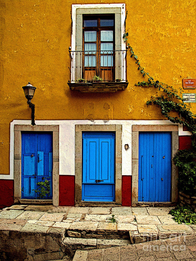 Darian Day Photograph - Three Blue Doors 2 by Mexicolors Art Photography