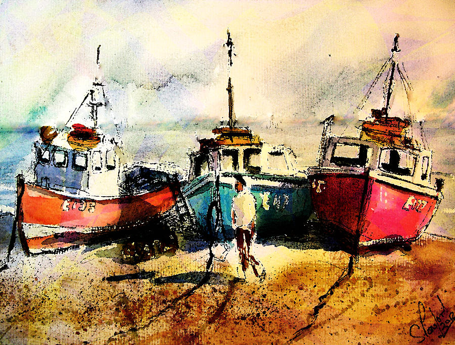 Boat Painting - Three Boats by Steven Ponsford