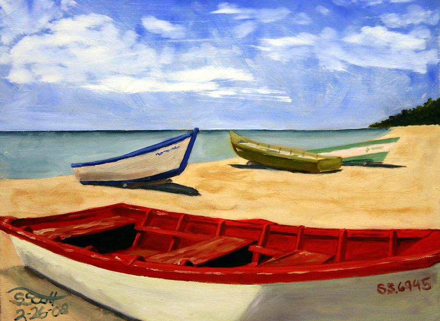 Landscape Painting - Three Boats by Steven Scott
