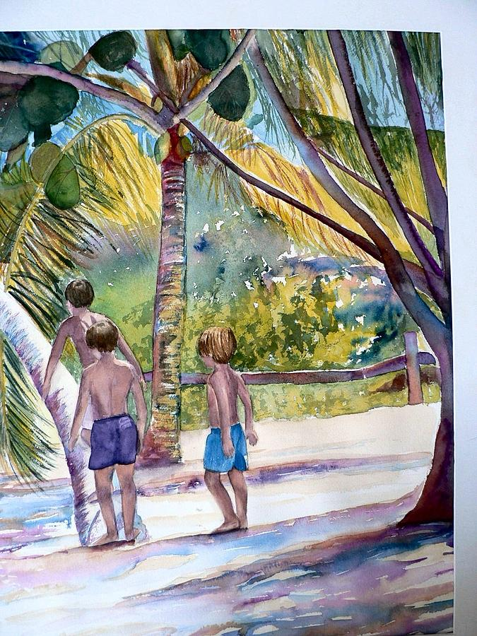 Boys Painting - Three Boys Climbing by Lynne Atwood
