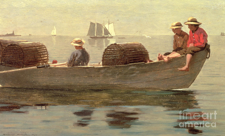 Boat Painting - Three Boys In A Dory by Winslow Homer