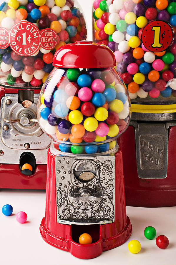 Balls Photograph - Three Bubble Gum Machines by Garry Gay