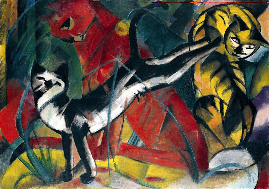 Three Cats Painting - Three Cats 1913 Painting Of Cats Posing And Cleaning Themselves by Franz Marc