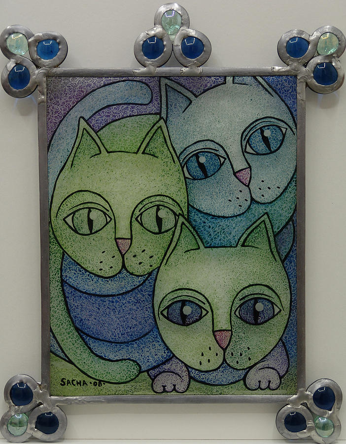 Three Cats  2008 Painting by S A C H A -  Circulism Technique