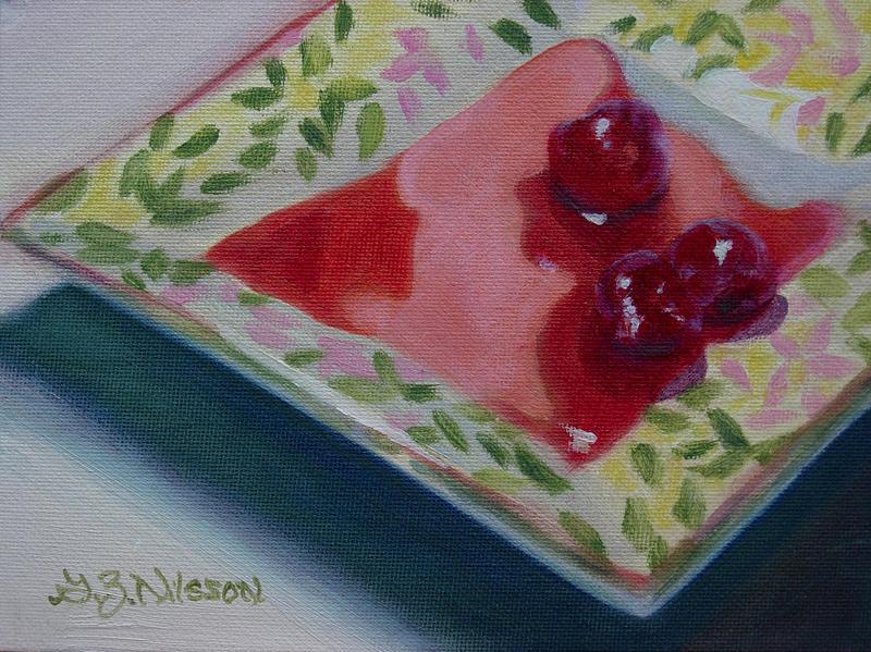 Three Cherries Painting by Gloria Nilsson