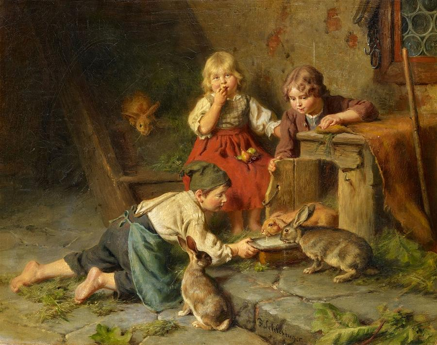 Man Painting - Three Children Feeding Rabbits by Felix Schlesinger