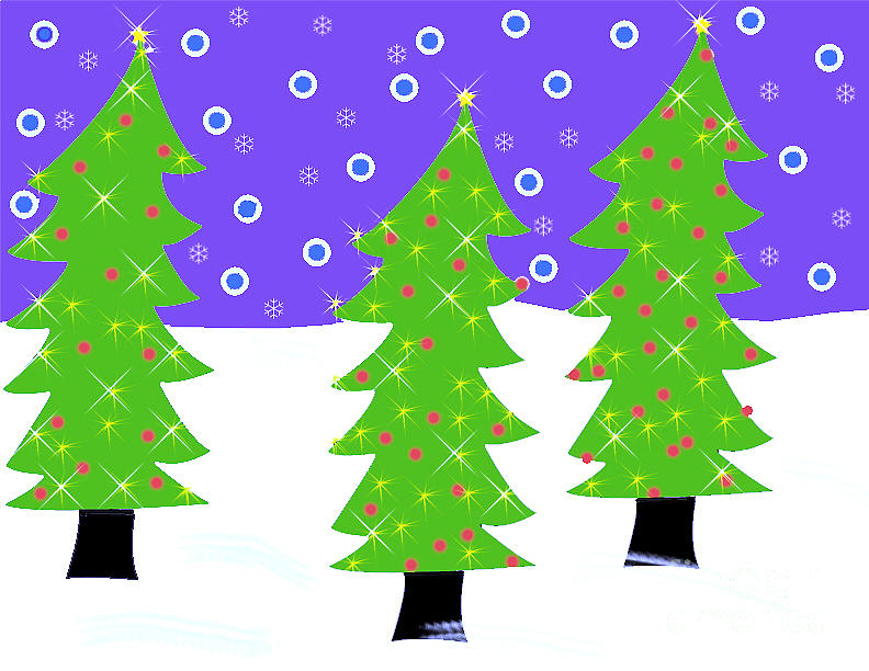 Christmas Trees Painting - Three Christmas Trees by Genevieve Esson