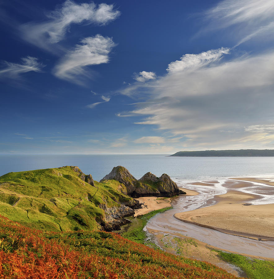 Swansea Photograph - Three Cliffs Bay 4 by Phil Fitzsimmons
