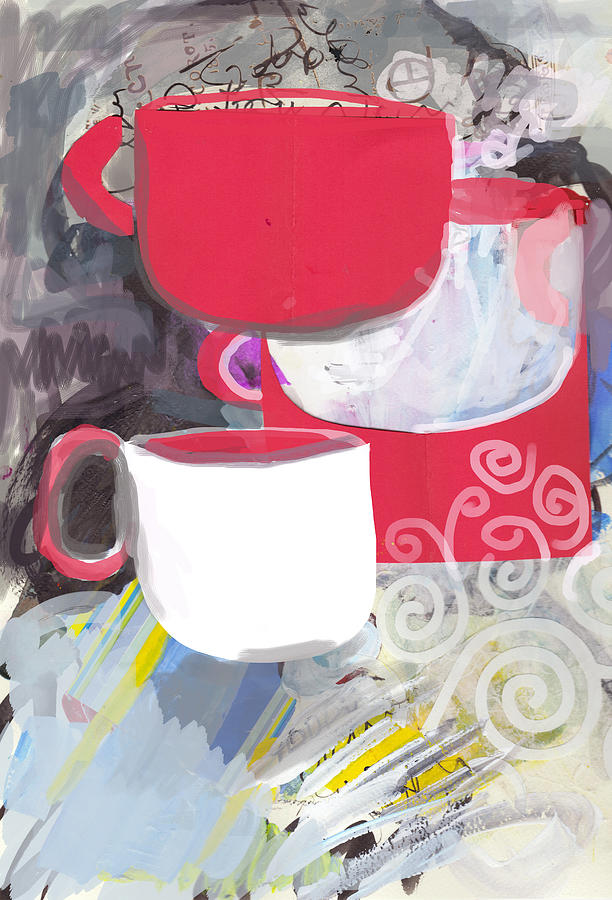 Painting Painting - Three Coffee Cups Red And White by Amara Dacer