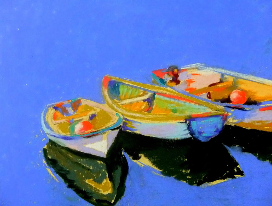 Boats Pastel - Three Colourful Boats by Sue Gardner