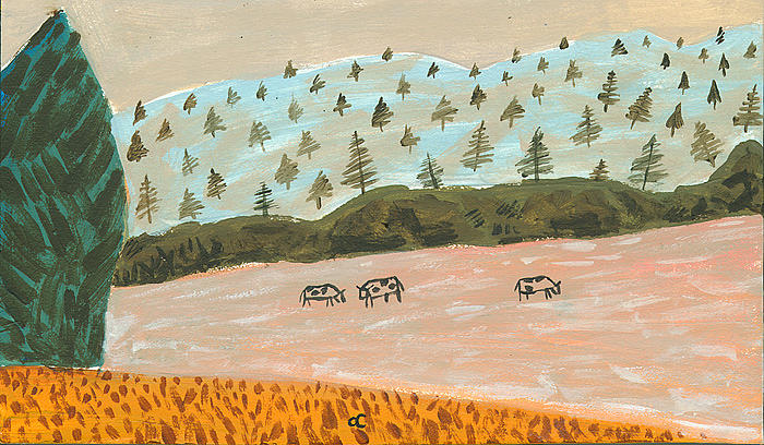 Southern Landscape Painting - Three Cows Tn by Chris Cook